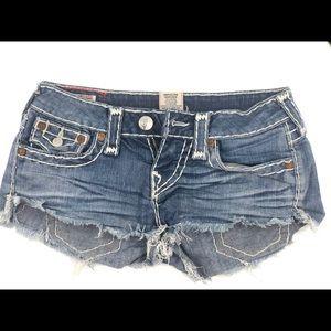 True religion double stitch shorts